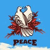与橄榄树枝和平标志例证的两只可爱的鸠 免版税图库摄影