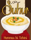 与橄榄油的可口Hummus双Tahini赖买丹月`的s Suhur,传染媒介例证 皇族释放例证