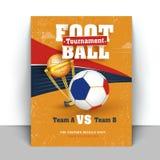 与橄榄球和赢取的金黄战利品o的海报或飞行物设计 库存例证