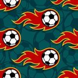 与橄榄球足球象和flam的无缝的传染媒介样式 免版税库存照片