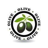 与橄榄色的标志的简单的圆的略写法 库存照片