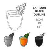 与橙味饮料和叶子的一块玻璃 免版税库存照片