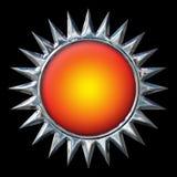 与橙色中心的镀铬物太阳在黑色 库存图片