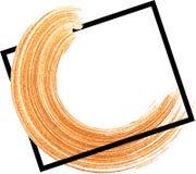 与橙色刷子冲程的背景 库存照片