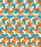 与橙色和蓝色形状的几何样式 向量例证