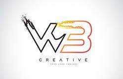 与橙色和黑颜色的WB创造性的现代商标设计 星期一 库存图片