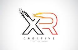 与橙色和黑颜色的XR创造性的现代商标设计 星期一 免版税图库摄影