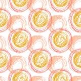 与橙色圈子纹理的秋天无缝的样式 手拉的时尚行家背景 网的,印刷品,织品,纺织品传染媒介 库存图片