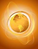 与橙色地球的抽象背景 库存例证