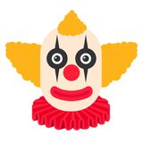 与橙色头发和可怕的构成的小丑可怕动画片 库存例证