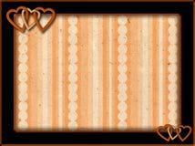与橙色心脏和背景的框架 库存图片