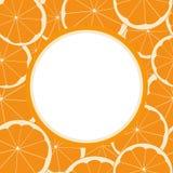 与橙色果子的无缝的样式的圆的框架 库存照片