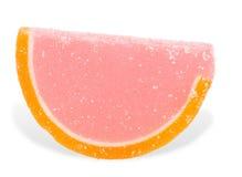与橙色果冻的桃红色当葡萄柚切片 库存图片