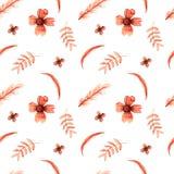 与橙色植物元素的无缝的样式在一白色backgroun 免版税库存照片