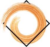 与橙色水彩刷子冲程的背景 库存照片