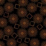 与橙色特征模式的黑暗的无缝的背景 免版税库存照片