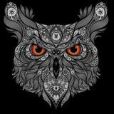 与橙色眼睛的传染媒介猫头鹰 图库摄影