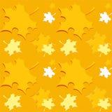 与橙色秋天秋天的无缝的样式离开-传染媒介 免版税库存照片