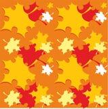 与橙色秋天秋天的无缝的样式离开-传染媒介 免版税库存图片
