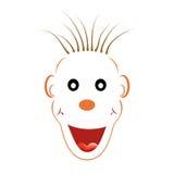 与橙色等高的笑的白色面孔与黑眼睛、橙色鼻子、棕色杂乱开放头发的耳朵和大橙色笑 免版税图库摄影