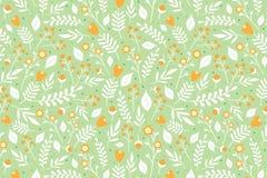 与橙色花的花卉样式 免版税库存图片
