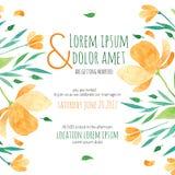 与橙色花的邀请新娘阵雨卡片 免版税库存照片