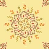 与橙色装饰装饰的无缝的样式 不尽的纹理 在黄色背景的东方几何装饰品 库存图片