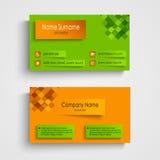 与橙色绿色设计模板的名片 免版税库存照片
