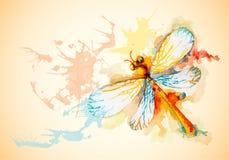 与橙色蜻蜓的传染媒介水平的背景 免版税图库摄影