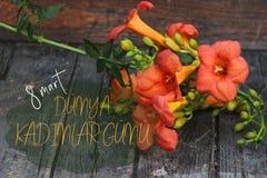与橙色Lillies的愉快的妇女` s天贺卡在土耳其语 免版税库存图片