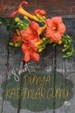 与橙色Lillies的愉快的妇女` s天贺卡在土耳其语 库存图片