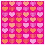与橙黄心脏的传染媒介集合浪漫样式 免版税库存照片