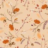 与橡子、叶子和花的秋天花卉无缝的样式 秋天葡萄酒纺织品的,墙纸自然背景 向量例证