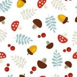 与橡子、叶子和蘑菇的样式 库存例证