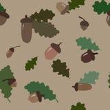 与橡子和叶子的无缝的秋季样式 免版税图库摄影