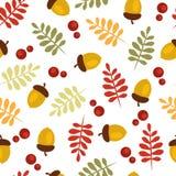 与橡子和叶子的秋天样式 皇族释放例证