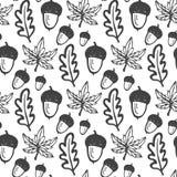 与橡子和槭树,橡木叶子的无缝的样式 织品的,纺织品手拉的传染媒介背景,包裹 免版税库存图片