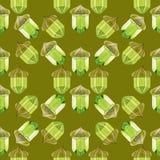 与橡子的水彩无缝的样式在橄榄色的背景 水晶的仿效 库存图片