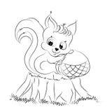 与橡子着色页的动画片灰鼠 库存照片