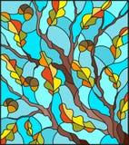 与橡木分支的彩色玻璃例证与未成熟的橡子和秋叶在蓝色背景生叶 库存照片
