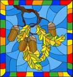 与橡木分支的彩色玻璃例证与橡子和叶子在蓝色背景生叶,在一个明亮的框架 免版税库存照片