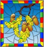 与橡木分支的彩色玻璃例证与橡子和叶子在蓝色背景生叶,在一个明亮的框架 库存照片