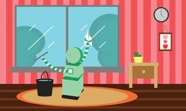 与橡皮刮板的国内机器人清洁玻璃窗 库存照片
