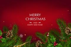 与欢乐元素例如金星,莓果的构成的圣诞卡片 库存图片