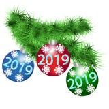 与欢乐新年球的蓬松云杉的分支 库存例证