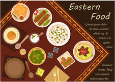 与欢乐晚餐的阿拉伯烹调食物 免版税图库摄影