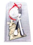 与欢乐桌餐位餐具和圣诞节d的圣诞卡 库存照片