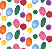 与欢乐气球的无缝的纹理在白色背景 向量例证
