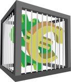 与欧元和美元标志的笼子 库存照片