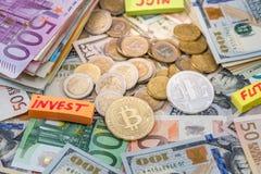 与欧元和美金,硬币的Cryptocurrency 图库摄影